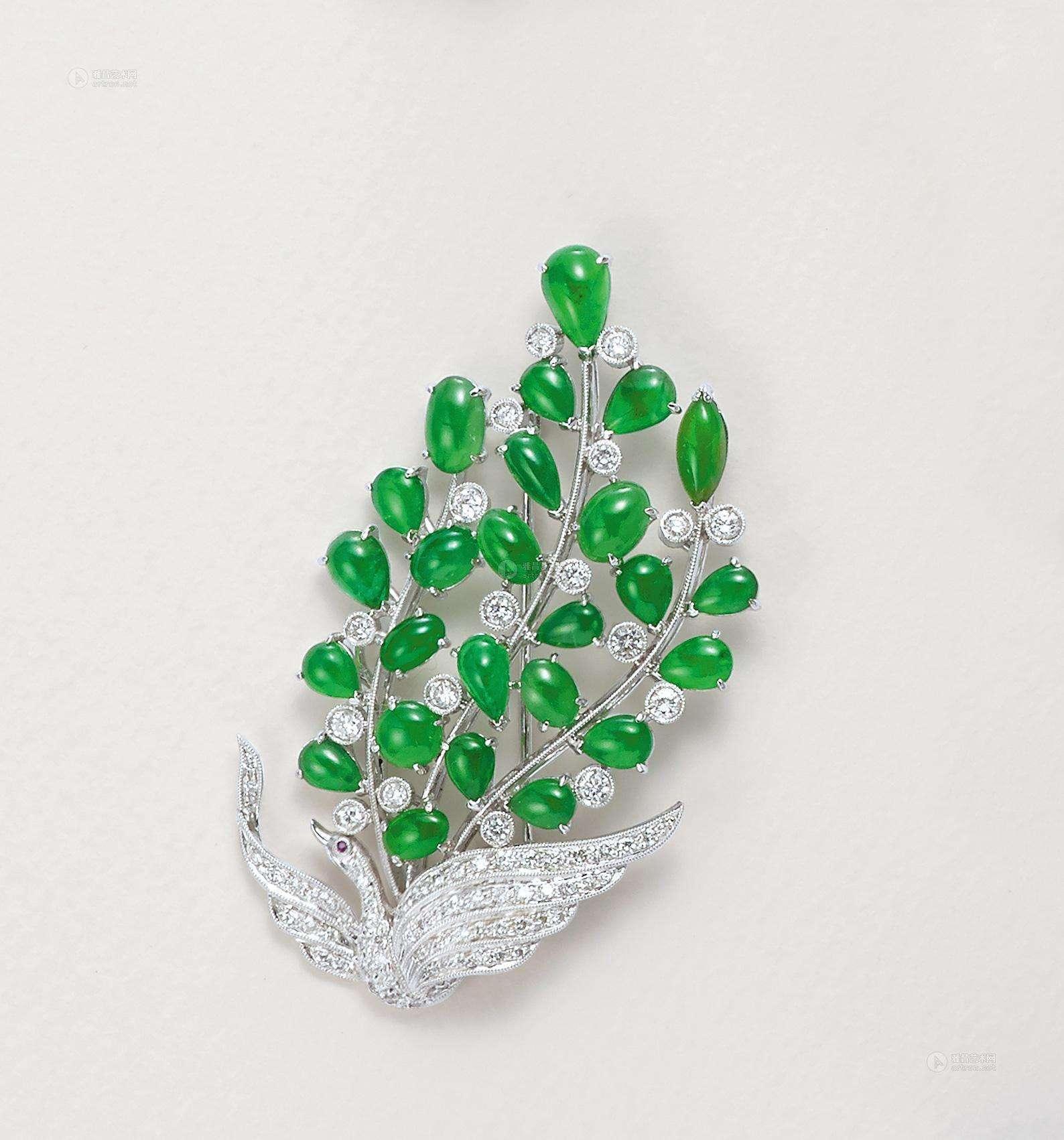 翡翠胸针,翡翠钻石,翡翠与钻石