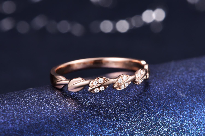 【秘密花园】玫瑰18K金钻石女款戒指,玫瑰金叶子形钻石戒指,玫瑰金钻石戒指,玫瑰金钻石戒指价格,玫瑰金钻戒定制