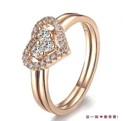 18K玫瑰金群镶钻石女戒  一款两戴  可拆分戒指
