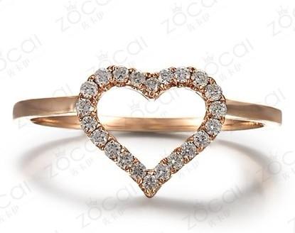 18K玫瑰金群镶钻石女戒  一款两戴  可拆分戒指,此为拆开后外面的心形戒指
