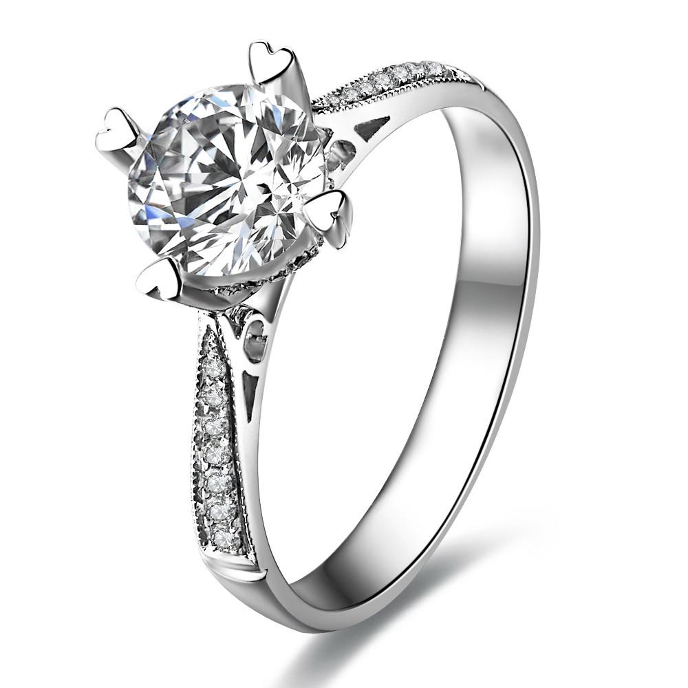 情定威尼斯 白金钻石戒指女戒结婚钻戒 白18K金26分/0.26克拉钻石女士戒指