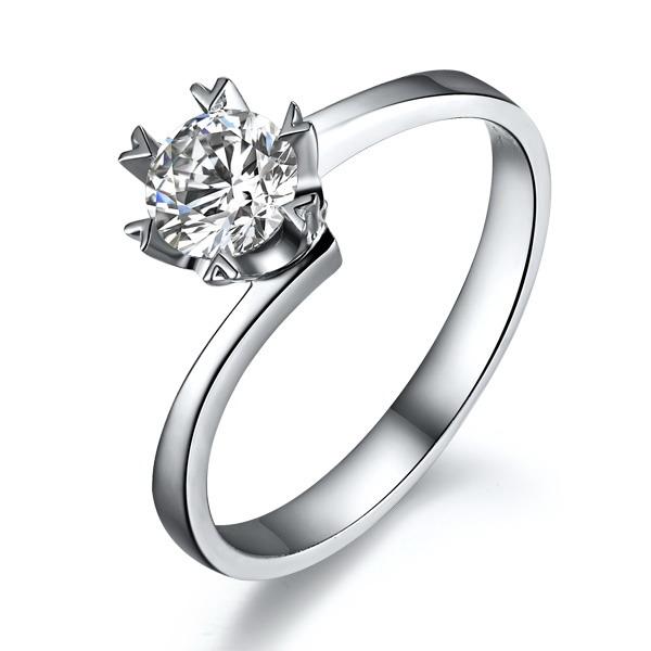 相遇 结婚钻石黄金对戒 白18K金情侣对戒