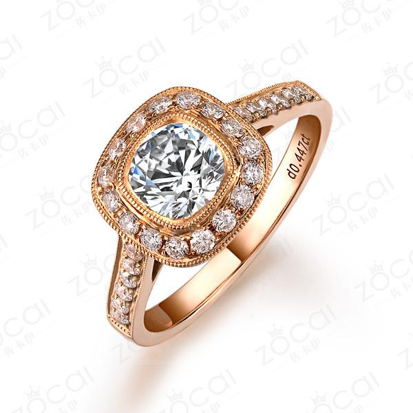 》》点击进入【典藏玫瑰】 玫瑰金钻石戒指