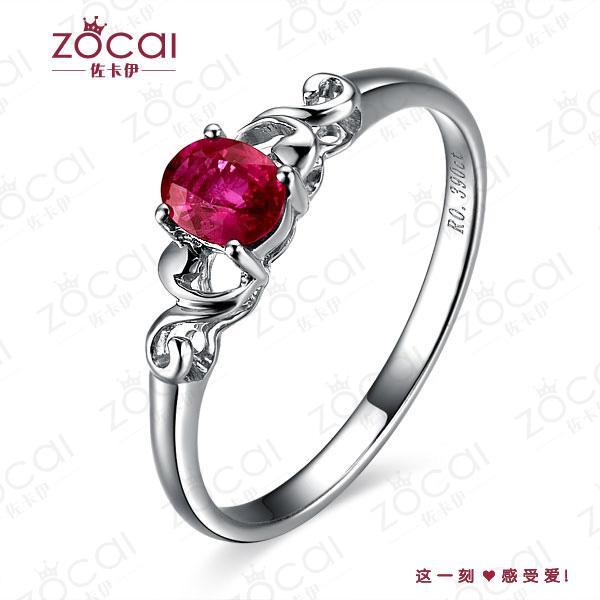 》》点击进入【浓情】 白18k金天然红宝石戒指