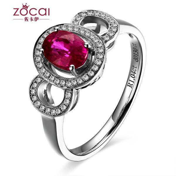 【炙心之爱】 缅甸鸽血白18k金红宝石戒指