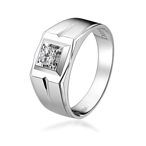 》》点击进入【浮梦】 白18K金19分/0.19克拉钻石男士戒指