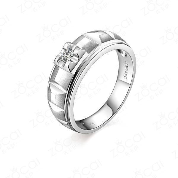 》》点击进入【星彩】 白18k金10分/0.1克拉钻石男士戒指