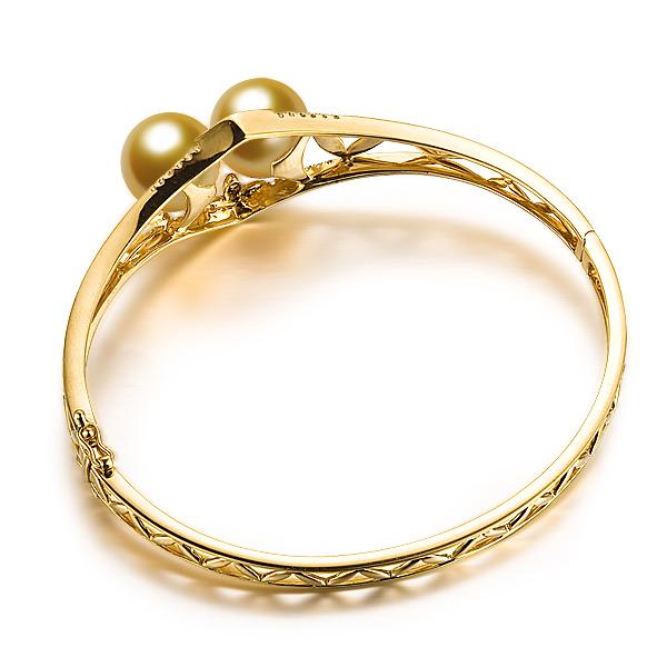 【奢华之皇】 天然18K黄金南洋金珠珍珠手镯 女款镶钻手镯