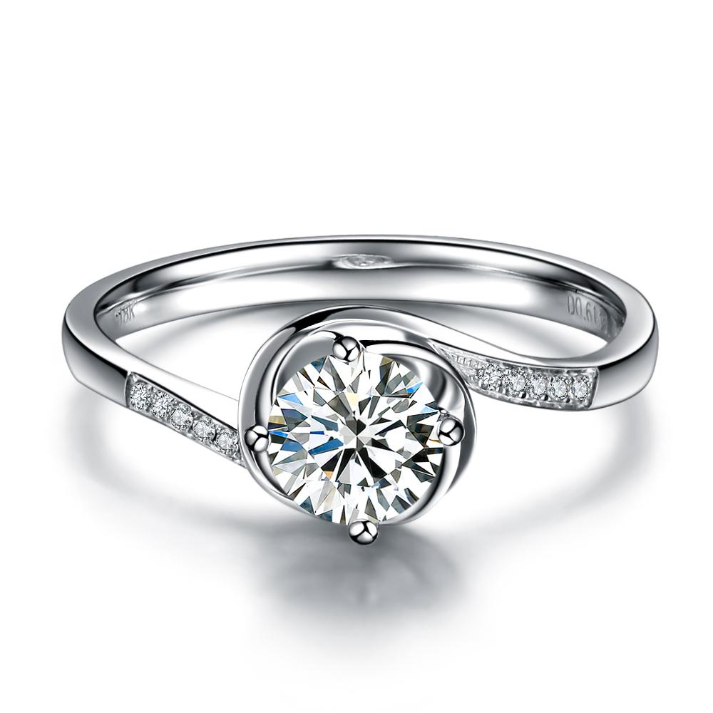 【玫瑰人生】 白18k金40分钻石戒指 新款